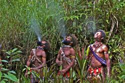 Huli wigmen spitting out female tainted water Papua New Guinea