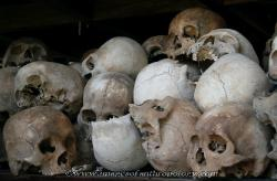 Skulls in the momorial pagoda at Cheung Ek killing field outside Phnom Penh