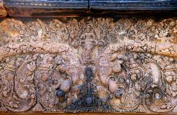 Shiva rides an elephant between Nagas at Banteay Srei