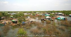View of a floating village on the Tonle Sap