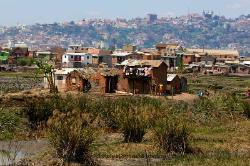 Homes in rice paddies, Antananarivo,Madagascar