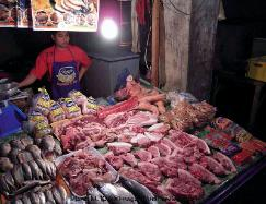 Philippines, village of Banaue, northern Luzon,meat and fish market