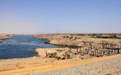 The Nile River flowing north from the Aswan High Dam, Egypt