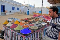 Spices and dyes for sale, Nubian village near Aswan, Egypt