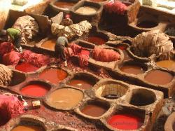 dye pits, leather factory in Fez Morocco image 2
