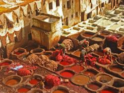 dye pits. leather factory in Fez Morocco image 3