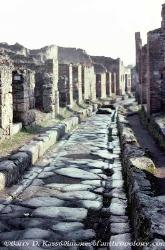 street in Pompeii with wagon ruts