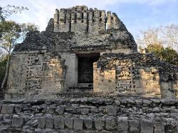 Remains of a roof comb, Mayan site of Chicanna, Yucatan, Mexico