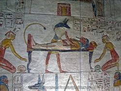 The god Osiris preparing the Pharaoh for the afterlife, Tomb in the Valley of the Kings, Egypt