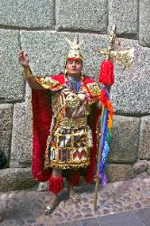 Inca lord, street performer, Cusco, Andes Mts