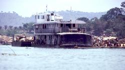 Closeup, riverboat on the Oubangui river, near Bangui, Central African Republic