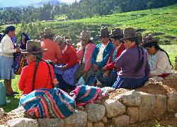 Gathering of Quetchua women, Chinchero, Andes Mts, Peru