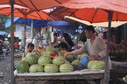 traditional market, Medan, watermelon seller, Sumatra Indonesia