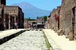 Street in Pompeii with Vesuvius in the background