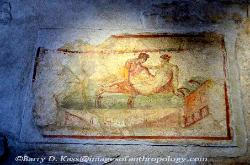 Erotic wall mural in the brothel, Pompeii, Italy