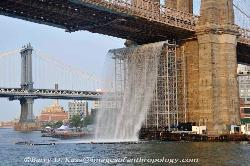 Waterfall as Art under the Brooklyn Bridge, NYC image 1