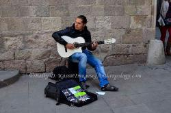 Closeup, Spanish guitar player, Barcelona, Spain
