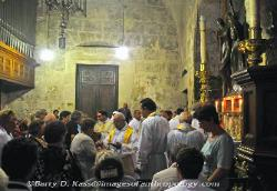 Christian ritual in the Church of the Holy Sepulcher, Jerusalem, Israel