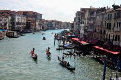 Gondolas along the Grand Canal,Venice,Italy