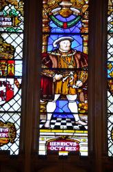 Closeup view of Henry VIII, stained glass window, Hampton Court, England