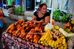 outdoor market, town of Fare, Huahine, French Polynesia