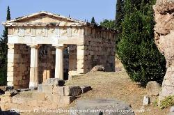 The Treasury of the Athenians at Delphi in Greece