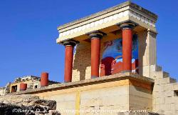 Restored section of the Palace of Knossos on Crete, with a wall section of a fresco of a  large bull