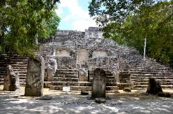 Structure VII with stelae, Mayan site of Calakmul, Yucatan, Mexico