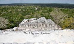 view from the top of a pyramid, Mayan site of Calakmul, Yucatan, Mexico