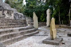 Stelae at the base of structure II, Mayan site of Calakmul, Yucatan, Mexico