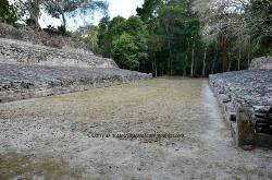 Ball court, Mayan site of Becan, Yucatan, Mexico