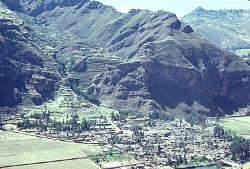 Town of Pisac, with agricultural terraces in background, Andes Mts, Peru