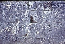 Portrayal of human sacrifice, wall of the ballcourt, Mayan site of Chichen Itza, Mexico