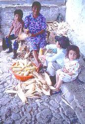 Mother and children shucking corn, village of Copan, Honduras
