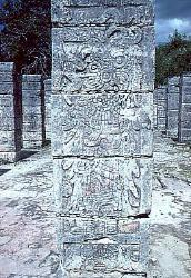 Warrior stela, Temple of the Warriors, Chichen Itza, Mexico