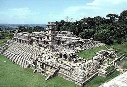 The Palace and tower, Mayan site of Palenque, Mexico