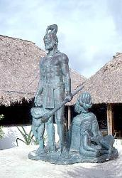 Statue of Gonzalo Guerrero, father of the Mestizo race, Akumal, Mexico