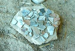 Variety of Anasazi potsherds, Grand Gulch, Utah
