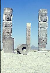 Warrior statues, Pyramid of the Warriors, Toltec site at Tula, Mexico