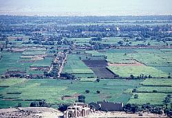 Nile valley with the Ramesseum in the foreground, Egypt