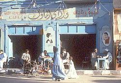 Street scene, outdoor cafe, town of Luxor, Egypt