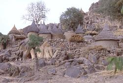 Village with thatched roofs, highlands of Cameroon