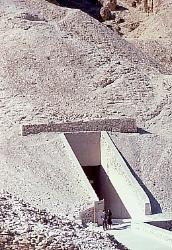 Entrance to the tomb of King Tut, Valley of the Kings, west bank of the Nile at Luxor, Egypt