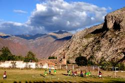 Soccer match, village of Urubamba, Andes Mts
