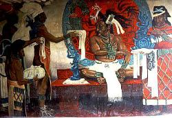 Wall mural of Mayan lord, Cahel Pech, Belize
